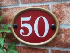 Small Oval House Number Sign – 150mm x 115mm; 5.9 inches x 4.5 inches